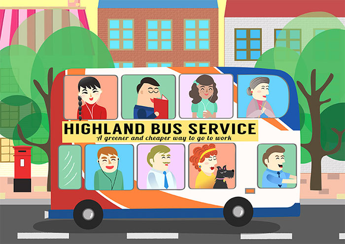 Highland Council Carbon Clever illustration campaign