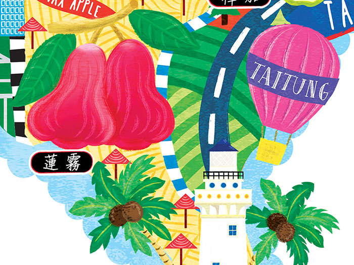 taiwan fruit map illustration detail