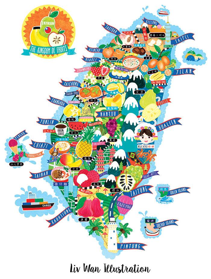 taiwan fruit map illustration