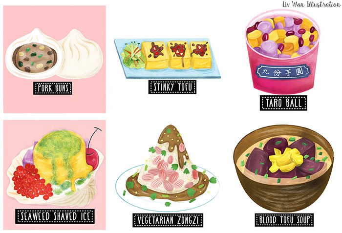 taiwan street food map illustration elements
