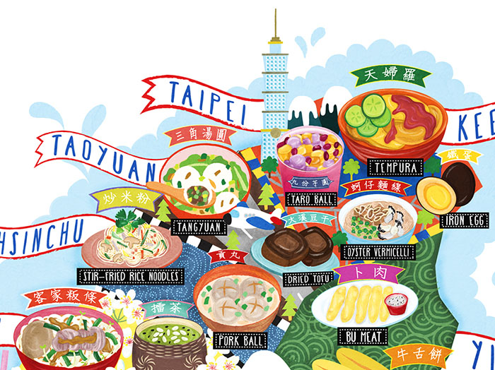 taiwan street food map illustration detail