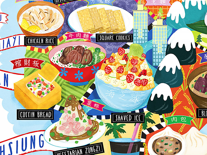 taipei street food map illustration detail