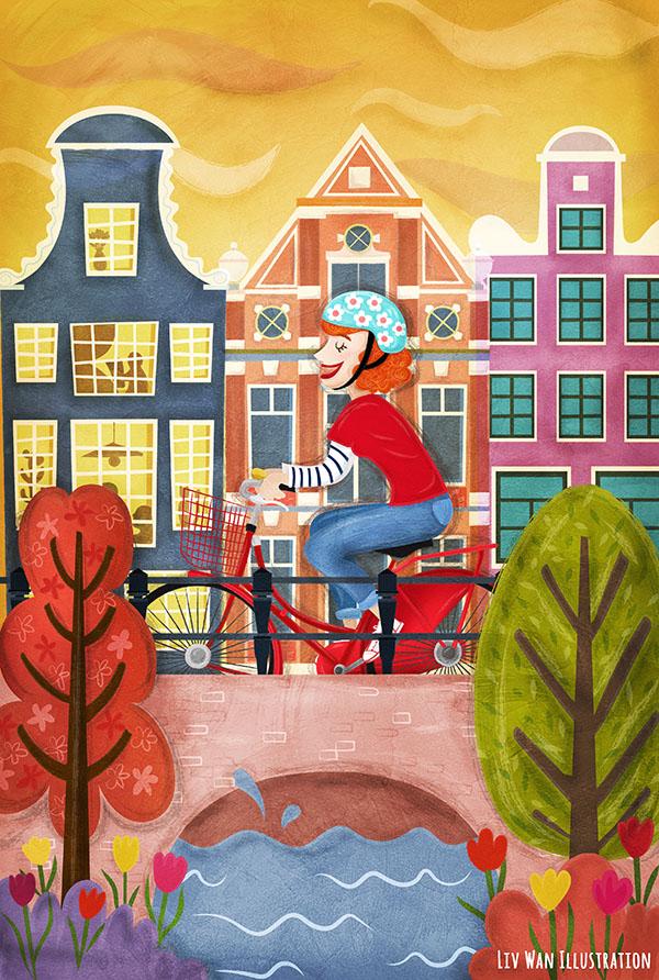 cycling through amsterdam illustration