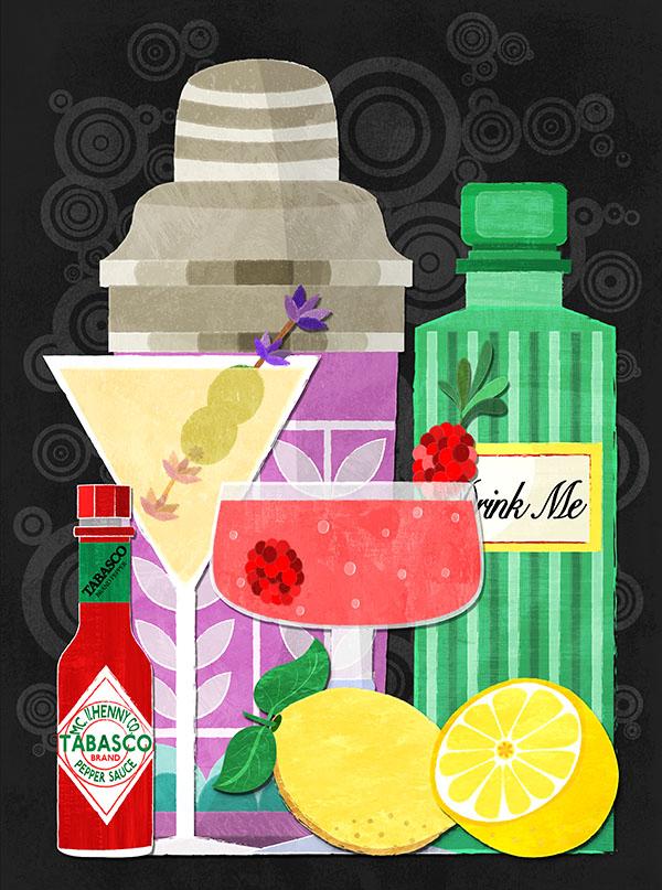 happy hour cocktail illustration