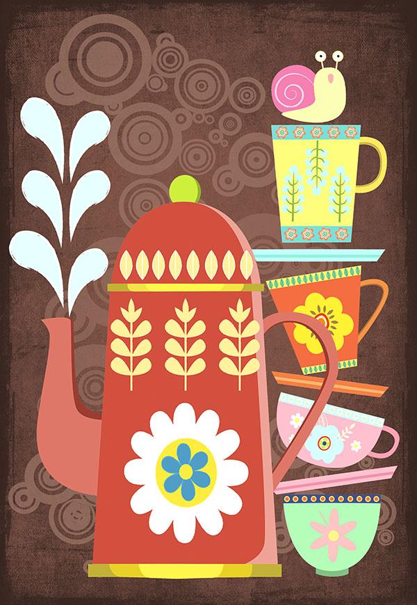 vintage coffee pots illustration