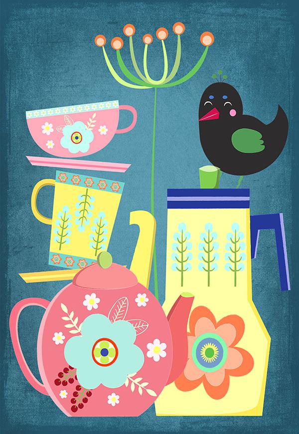 vintage tea set illustration
