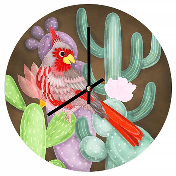 desert cardinal clock illustration