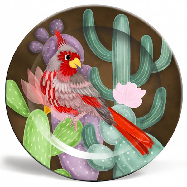 desert cardinal plate illustration product