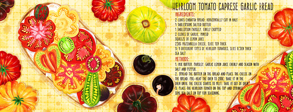 heirloom tomato caprese garlic bread recipe illustration