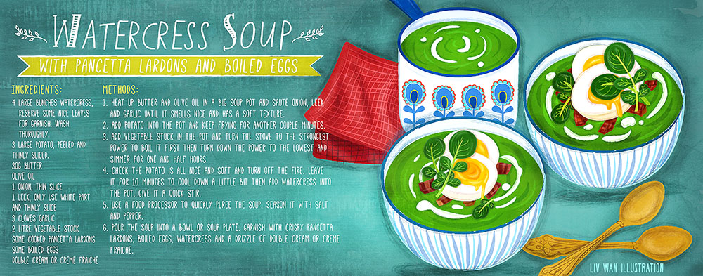 watercress soup with pancetta and boiled eggs recipe illustration