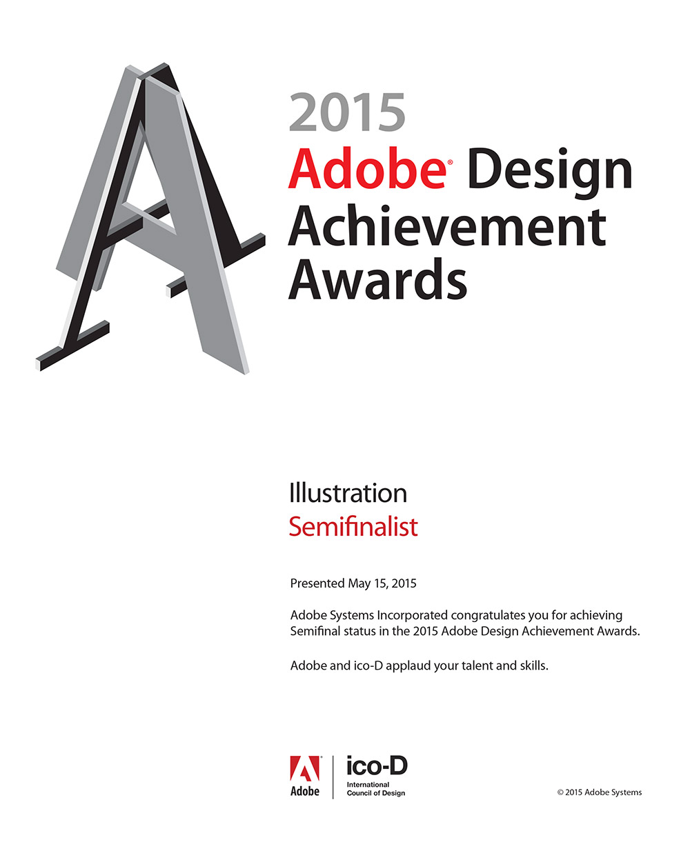 2015 Adobe Design Achievement Awards Semifinalist