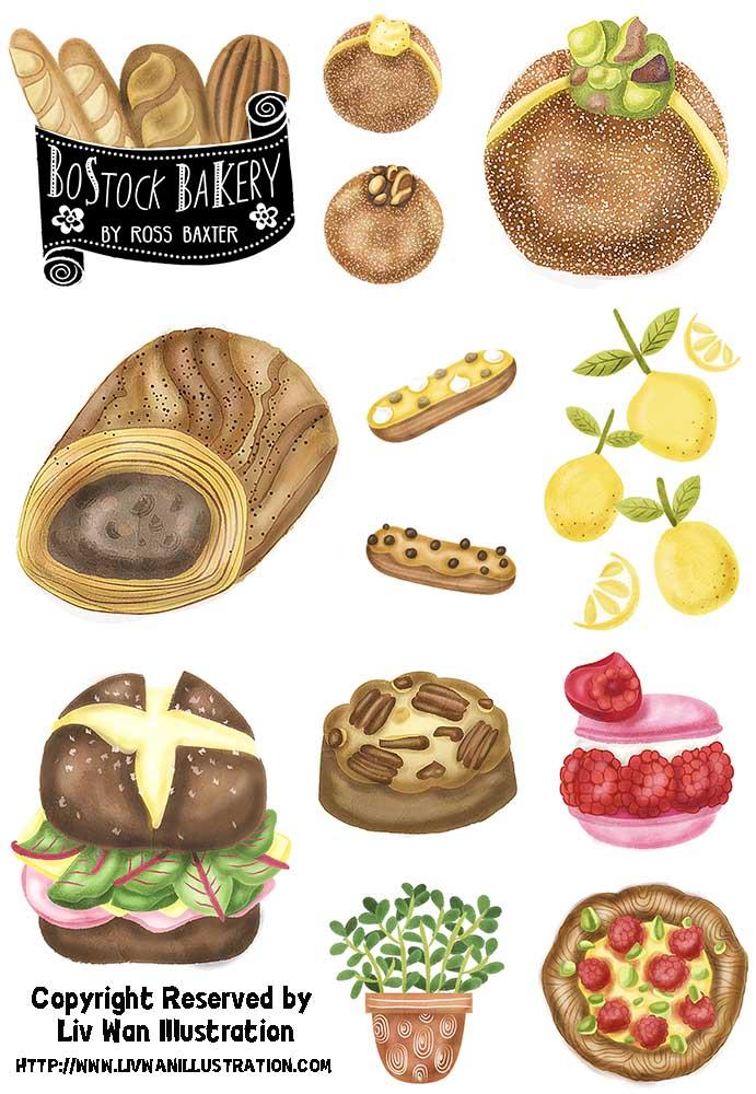 Pastry bakery dessert illustrations