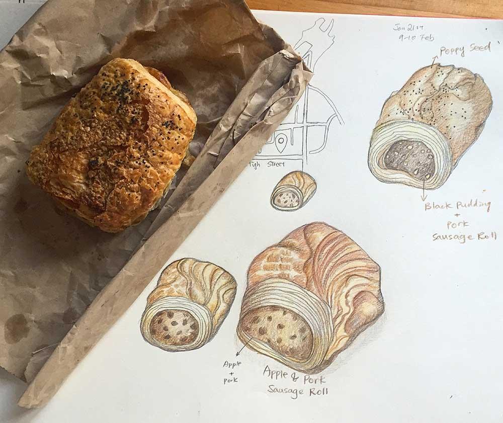 Food illustration sketches development by UK based illustrator Liv Wan