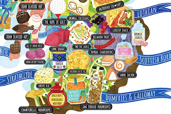 Scotland Food Map Illustration