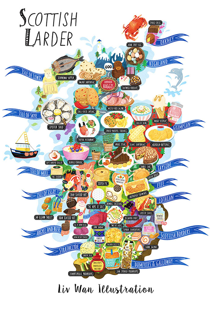 Scotland Food Map Illustration