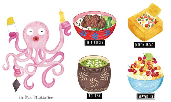 Taiwan Street Food Map Illustration