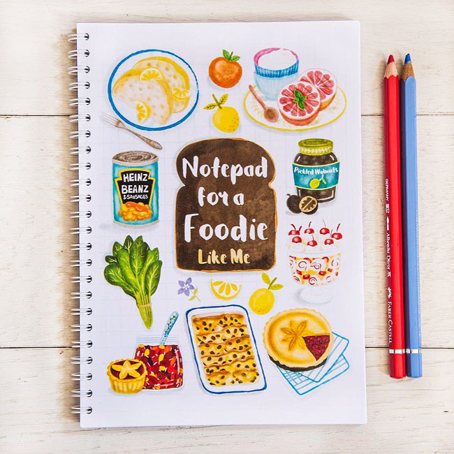 Delicious foodie illustrated notebook illustrated by UK based illustrator Liv Wan