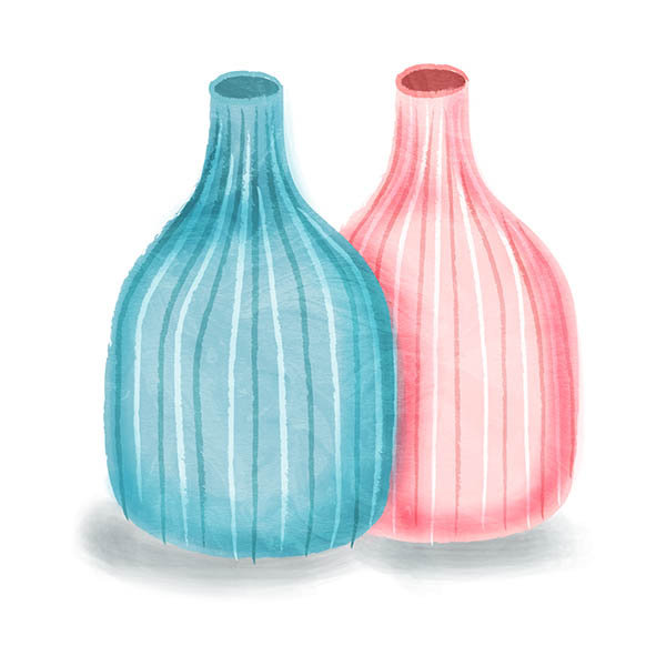 twin vases illustration