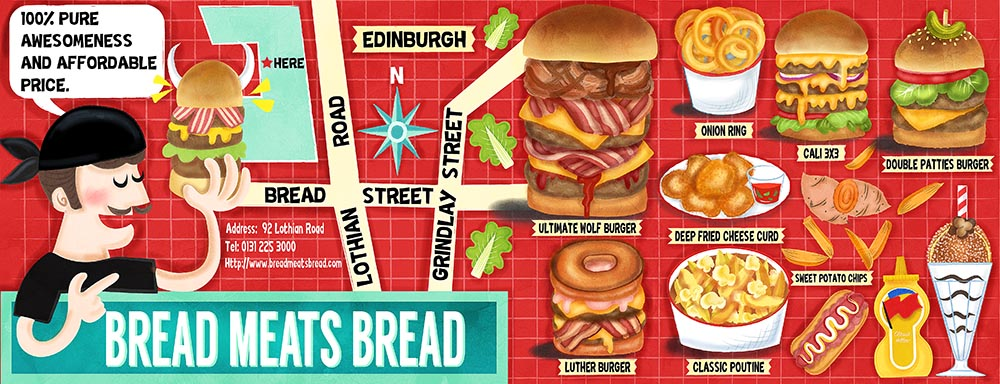 Bread Meats Bread Restaurant Illustration