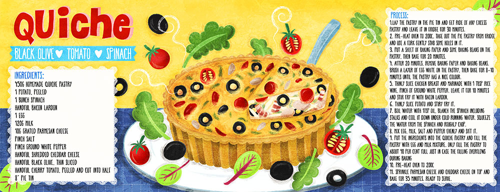 black olive tomato spinach quiche recipe illustration