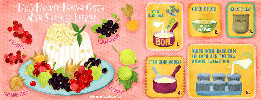 elderflower panna cotta with summer berries recipe illustration