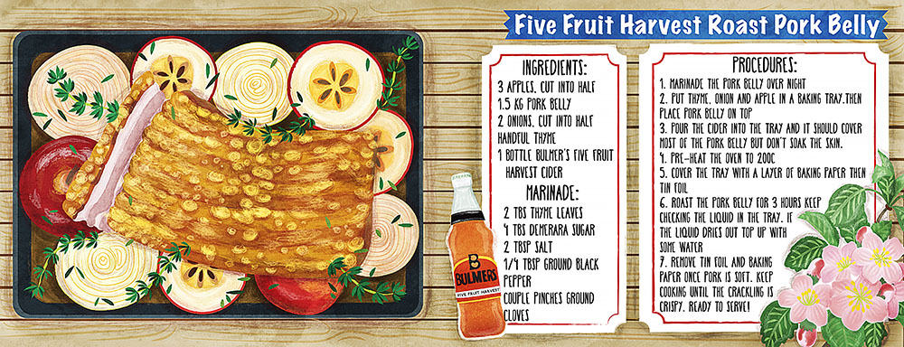 five fruit harvest roast pork belly recipe illustration