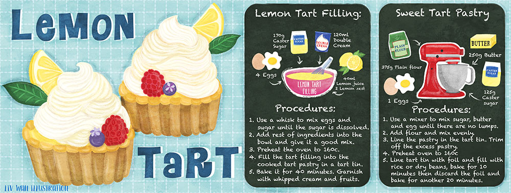 lemon tart recipe illustration