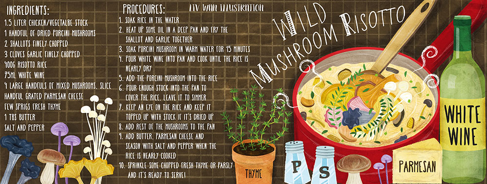 mushroom risotto recipe illustration