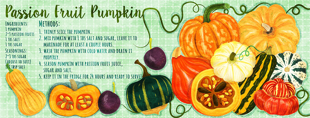 passion fruit pumpkin recipe illustration