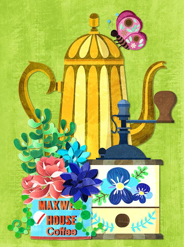 vintage kitchen coffee illustration