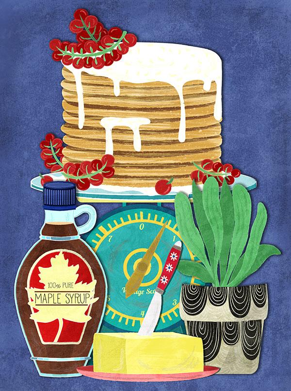 vintage kitchen pancake illustration