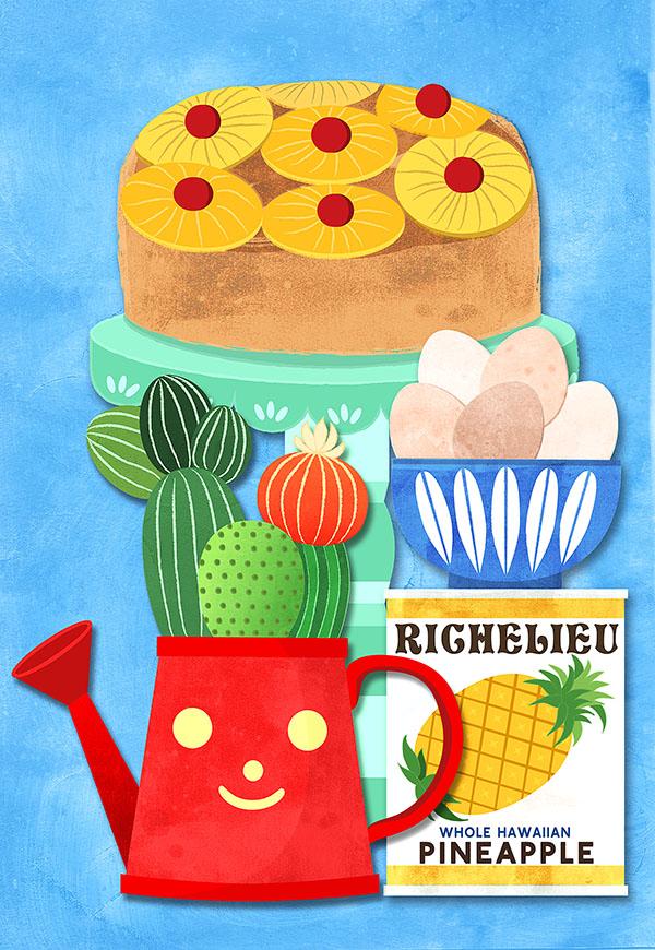 vintage kitchen pineapple illustration