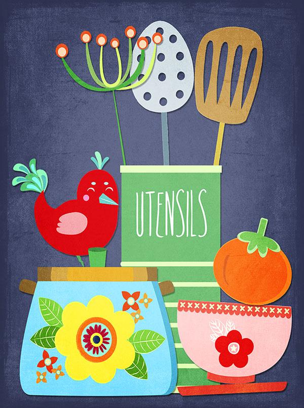 vintage kitchen utensil illustration