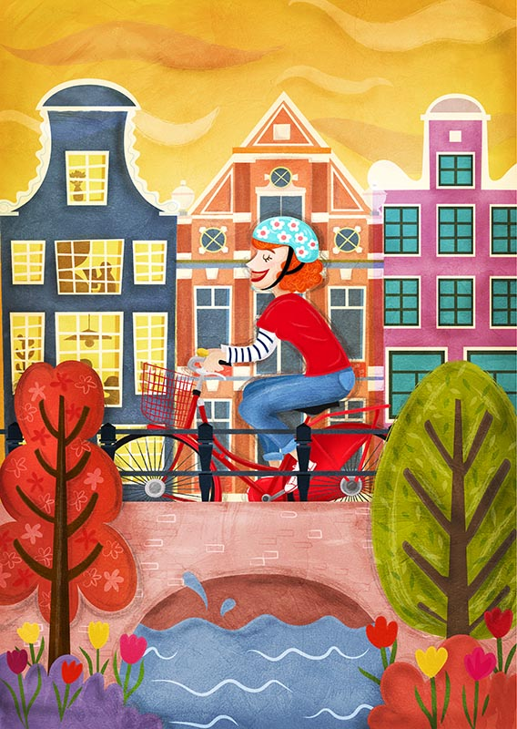 cycling amsterdam illustration