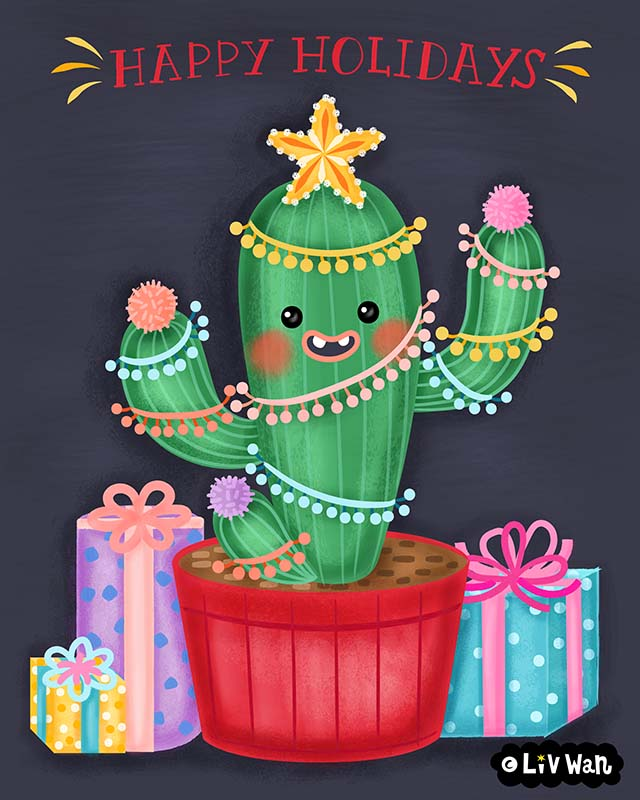 christmas cactus illustration