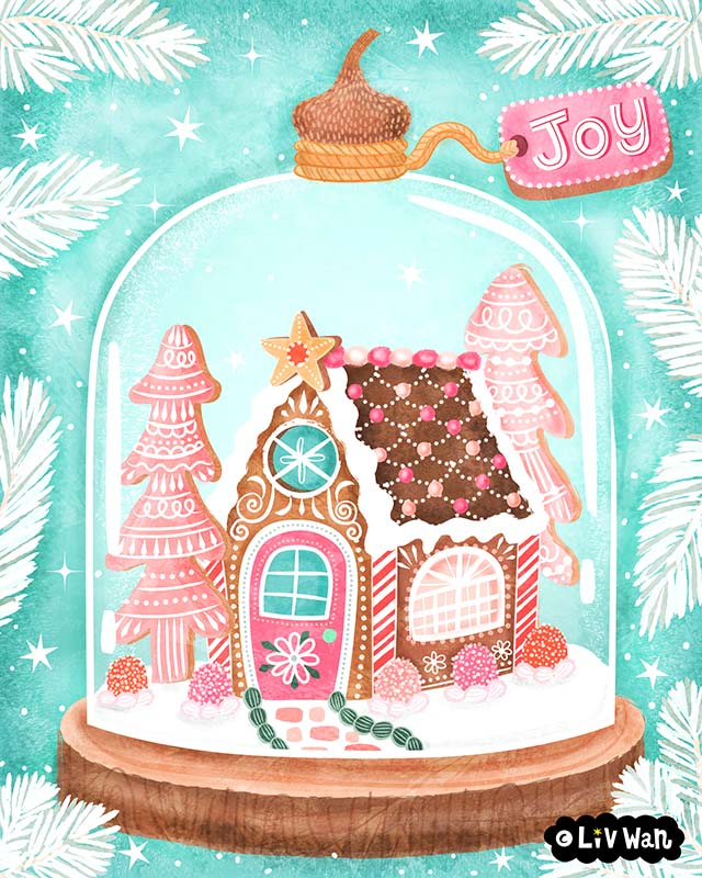 ginger bread house dome illustration