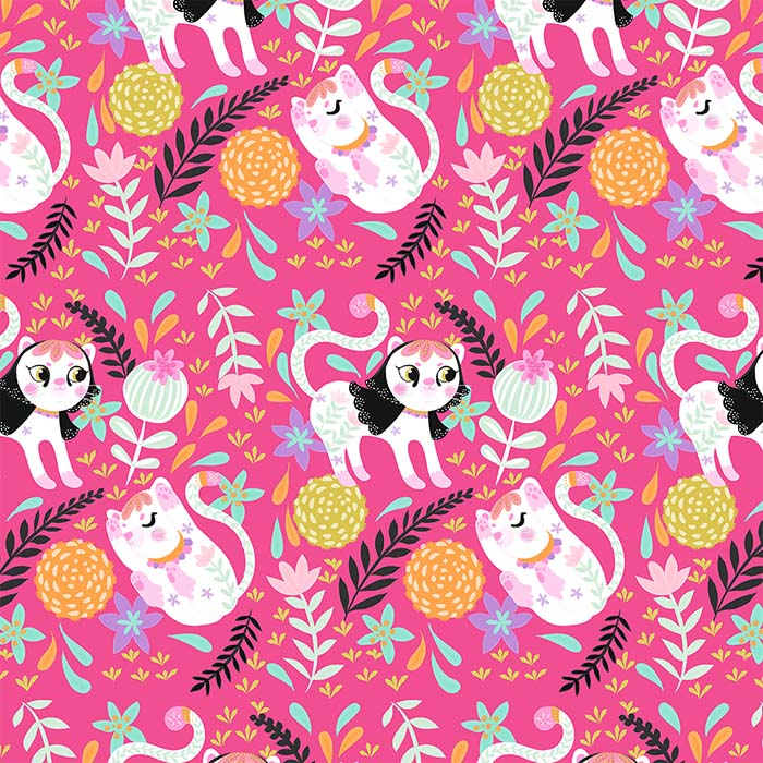 my little white cat hot pink pattern