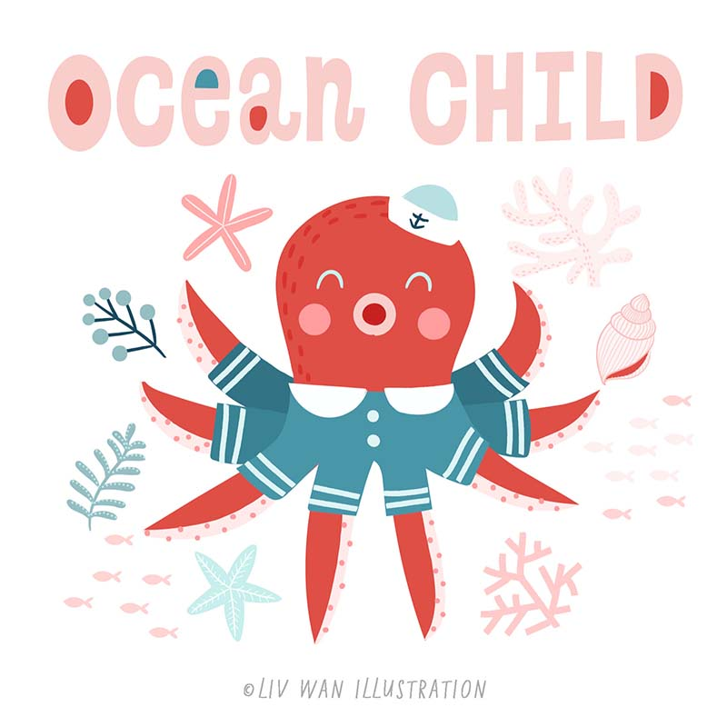 ocean child surface design pattern