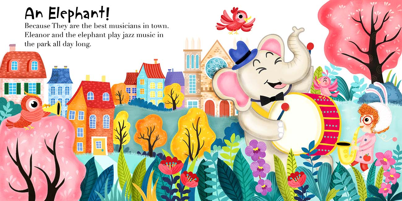 eleanor elephant park childrens book illustration