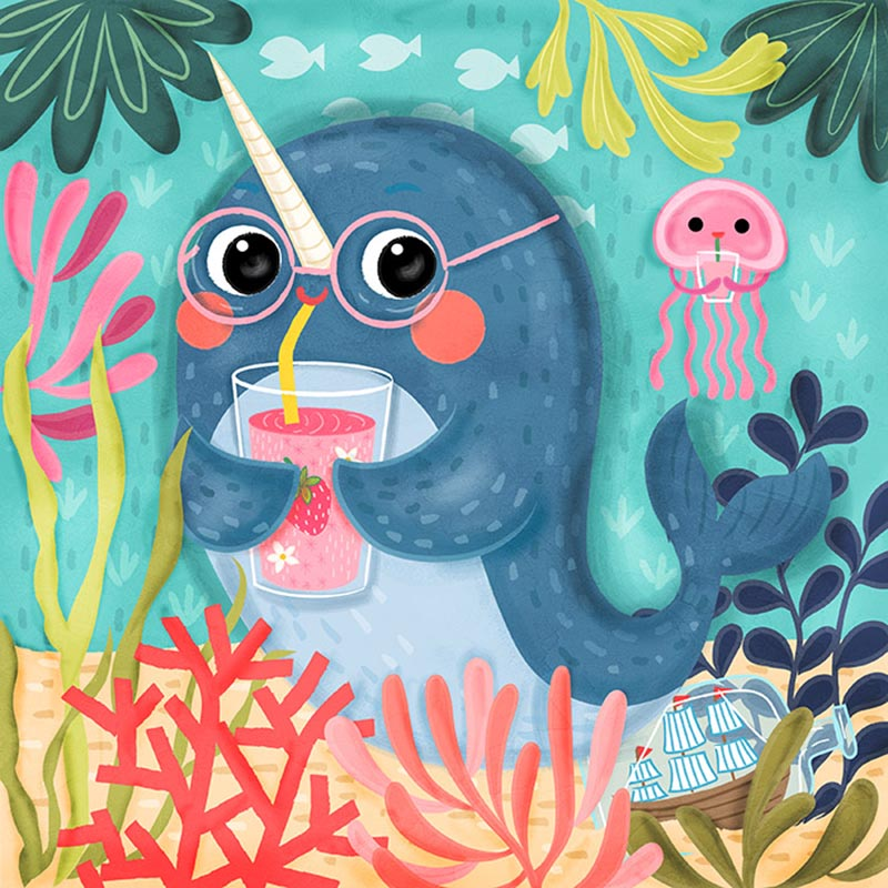 narwhal with pink punch
