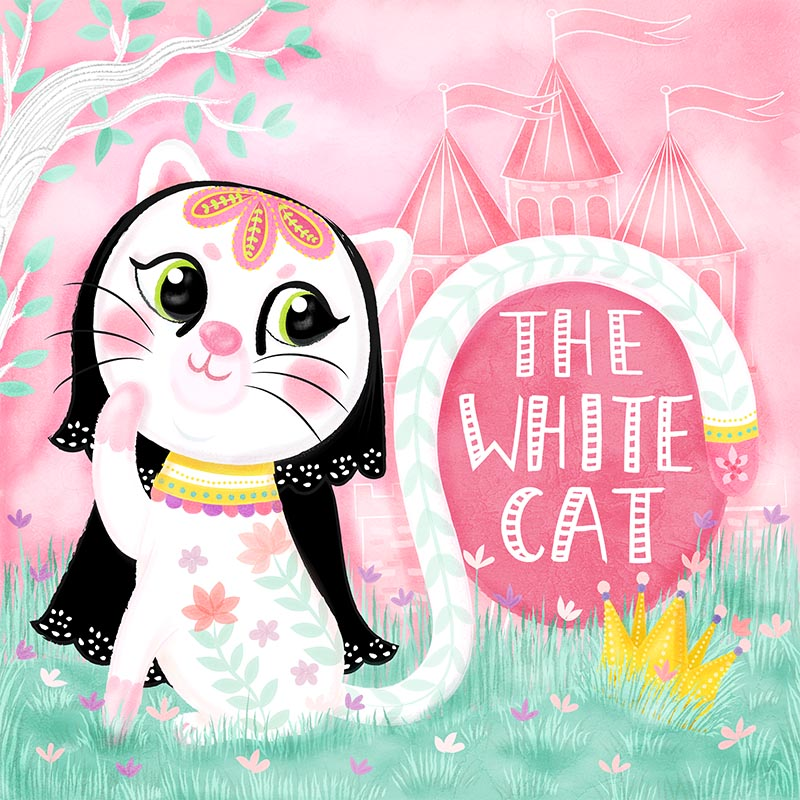 white cat book cover design