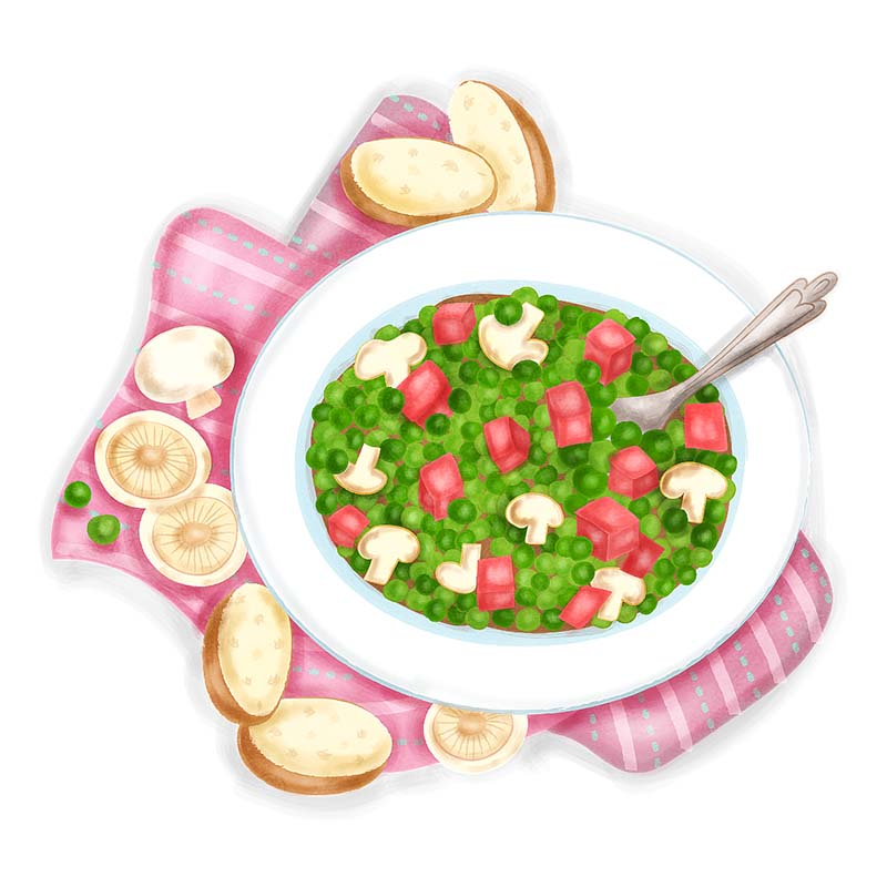 Boiled Peas with Tasso Ham food illustration