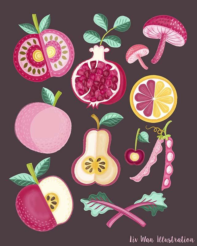 dark pink food poster