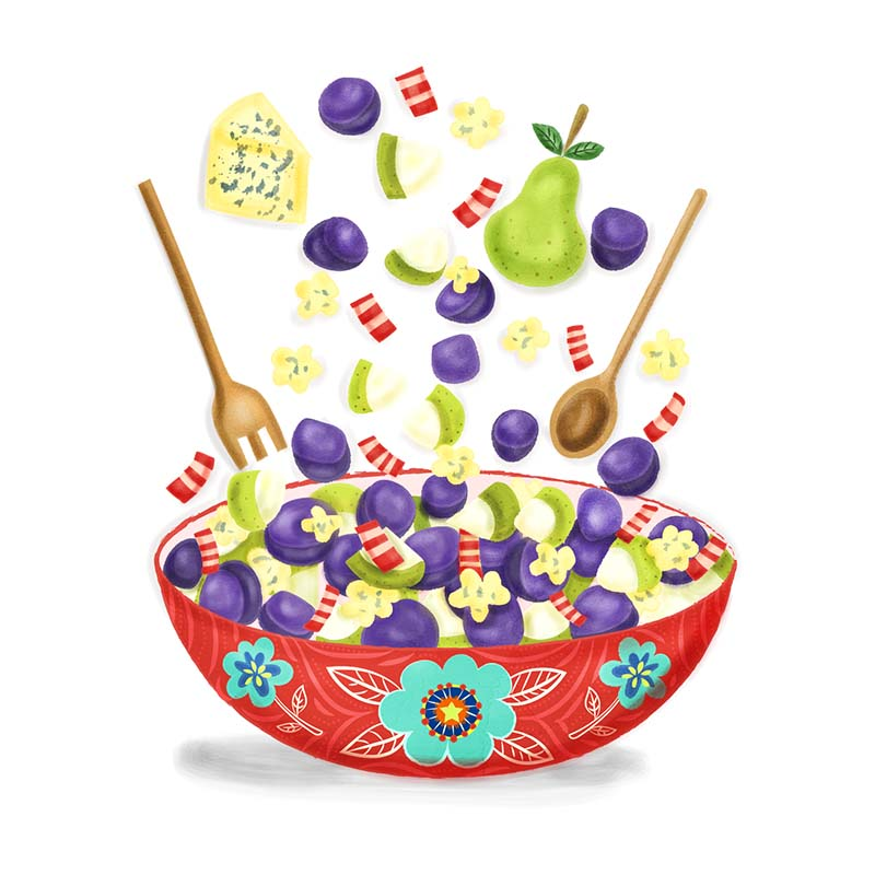 Purple Potato Salad food illustration