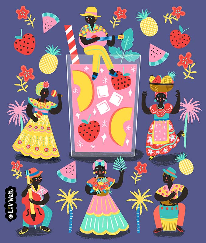 peach mojito illustration