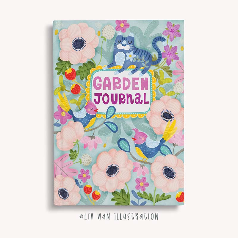 cat garden journal design illustration