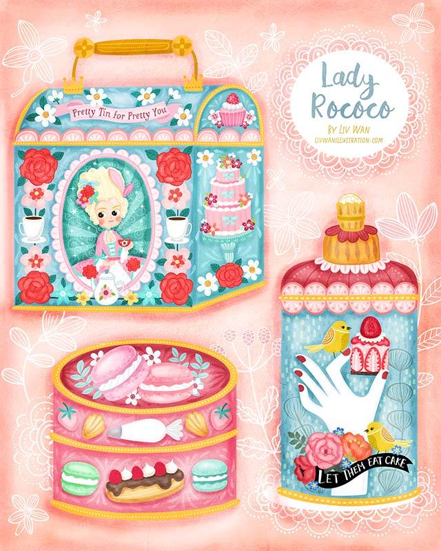 lady rococo tin design