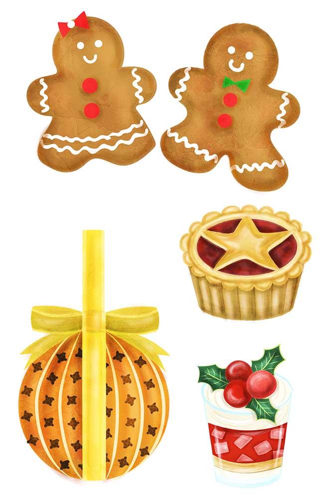 2015 Foodies Festival Christmas food illustrations