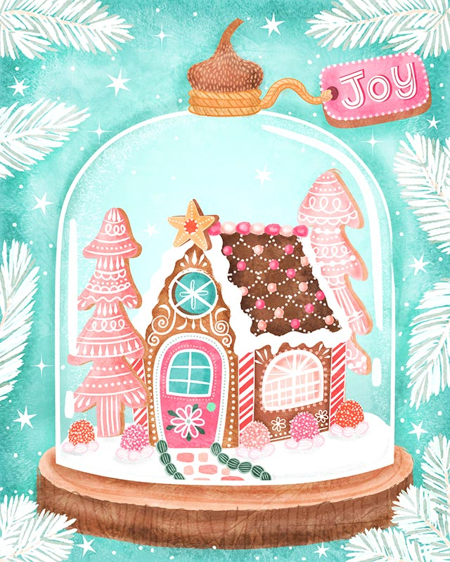gingerbread bread house snow globe christmas card illustration