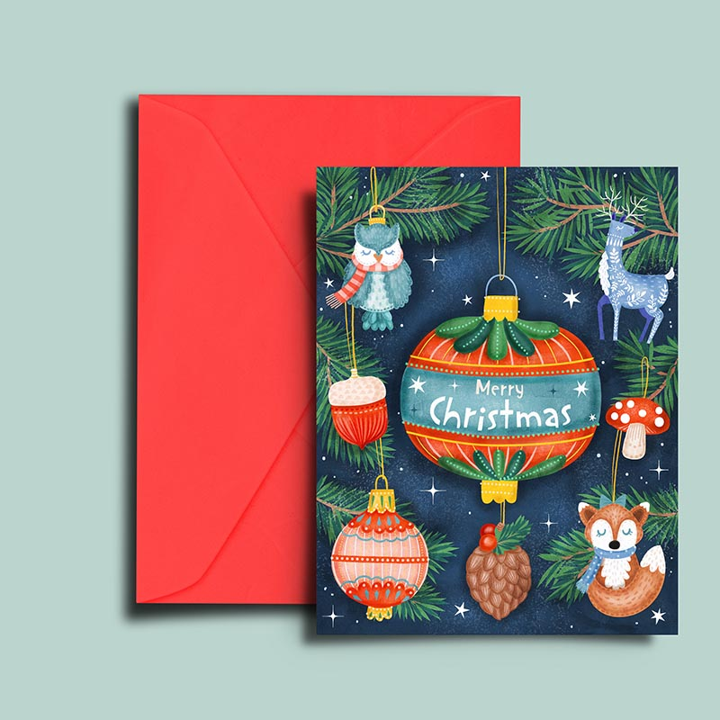 illustrated woodlands ornaments christmas card